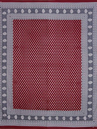 UniqChoice Jaipuri Print 100% Cotton Rajasthani Tradition King Size Double Bedsheet With 2 Pillow Cover(Maroon Color)