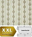 3D Barock Tapete Streifen XXL Vliestapete EDEM 660-95 Elegantes Barockmuster Textil-Optik grün gold creme hellbraun 10,65 m2
