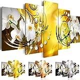 Quadro 200x100 cm - Tre colori da scegliere - 5 Parti - Grande Formato - Quadro su tela fliselina - Stampa in qualita fotografica - Fiori Orchidea Perle Diamant b-A-0257-b-n 200x100 cm B&D XXL