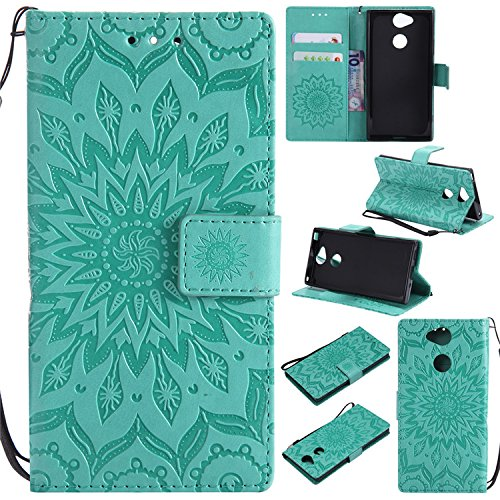 Nutbro Sony Xperia XA2 Cases Phone Case Sony Xperia XA2 Flip Case Premium Leather Flower Floral Pattern Slim Flip Wallet Case for Sony Xperia XA2