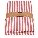 FILU Servietten (4 Stück, Rot/Weiß Gestreift) 45 x 45 cm (Farbe und Design Wählbar) Stoffserviette aus 100% Baumwolle im skandinavischen Landhausstil