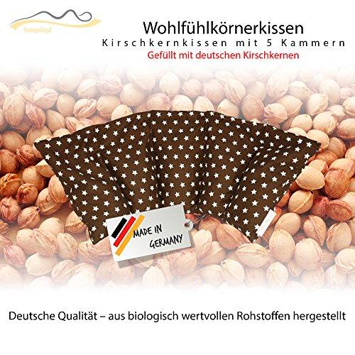 Cuscino con noccioli di ciliegia all'interno / cuscino da rilassamento per il trattamento termico - cuscino termico riscaldabile nel microonde // formato da cinque parti (bruno)