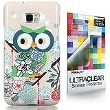 CaseiLike � Art von Owl 3328, Snap-on wieder Geh�use f�r Samsung Galaxy S2 S 2 S II SII i9100 mit Displayschutzfolie