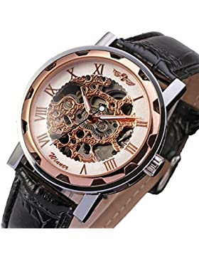Gute Klassisch Herren Damen Unisex Rose-Gold Skelett Analog Handaufzugwerk Armbanduhr