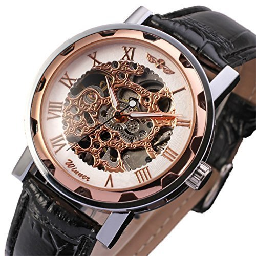 Skelett Watch Rose (Gute Klassisch Herren Damen Unisex Rose-Gold Skelett Analog Handaufzugwerk Armbanduhr)