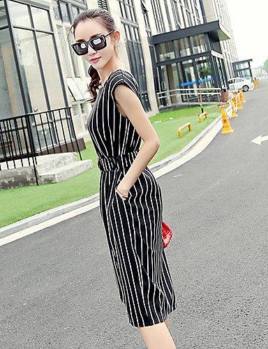 PU&PU Robe Aux femmes Swing Vintage / Travail / Décontracté , Rayé Col Arrondi Mi-long Mousseline de soie white-xl