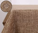 Deconovo Faux Linen Pattern Rectangle Table Cover Cloth for Kitchen Dinning Waterproof Light Brown 55x94 Inch
