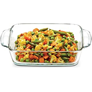 Borosil Square Glass Baking Dish With Handle, 800 ml, Microwave Safe   Oven Safe