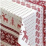 WACHSTUCH Tischdecken ( 01231-01 - 110 x 140 cm - Abwischbar Meterware, Größe wählbar, Glatte Oberfläche Skandinavische Weihnacht Stickmuster Selburose Elche in Rot
