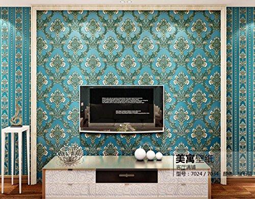 Meaosy Amerikanische Umweltschutz Non-Woven 3D Wohnzimmer Schlafzimmer Hintergrundbild Stereo Blau Europäischen Damaskus Tapeten Royal Blau - Royal Blau-tapeten