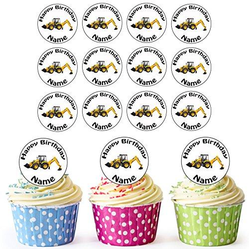 John Deere Scraper (Vorgeschnittener Personalisierter Lader Bagger - Essbare Cupcake Topper / Kuchendekorationen (24 Stück))