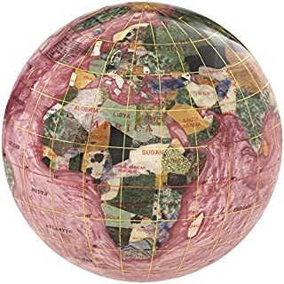 KALIFANO 4 Gemstone Globe Paperweight with Rubellite Opalite Ocean by Alexander Kalifano