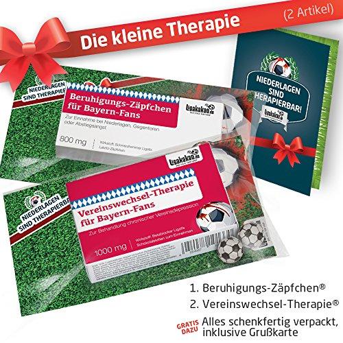 ZÄPFCHEN® Geschenk-Set: 1 - Die Kleine Therapie für FCB-Fans | Für Fans mit FC Bayern München Tasse, FCB Kaffee-Becher, Handtuch & FCB Fanartikel