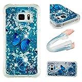 E-Mandala Samsung Galaxy S6 Edge Hülle Glitzer Flüssig Liquid Glitter Case Cover Handyhülle Schutzhülle Transparent mit Muster Durchsichtig Tasche Silikon - Blumen Schmetterling Lila