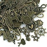 Naler Décorations de la Fête 100 PCSAntique en Alliage Mixte Style Breloques Vintage Bronze Pendentif DIY Craft