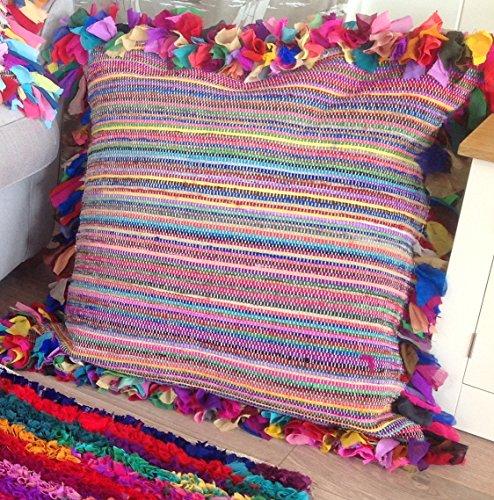 Shaggy-Cuscino da pavimento, 80 x 80 cm, colore: multicolore/rag Rug-Tappeto