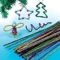 Fils chenille effet guirlande de Noël que les enfants pourront utiliser pour créer des décorations (Lot de 72)