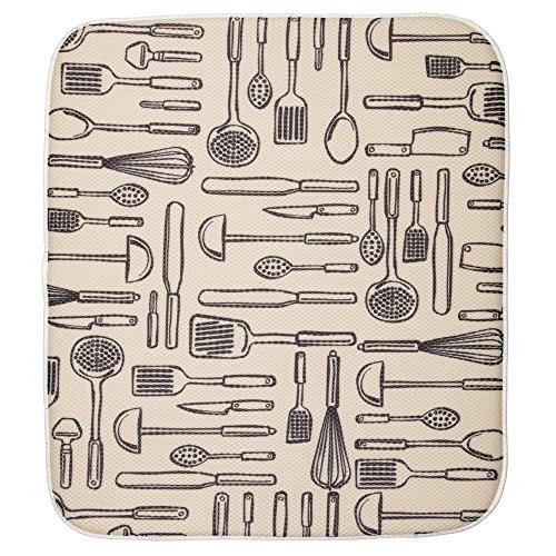 InterDesign iDry Tappetino lavello, Grande e spesso tappetino cucina in poliestere e microfibra per asciugatura delle stoviglie, bianco/nero