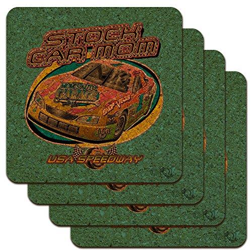 Stock Car Racing Mom USA Speedway Garage Low Profile Neuheit Cork Untersetzer Set (Coaster Stock)