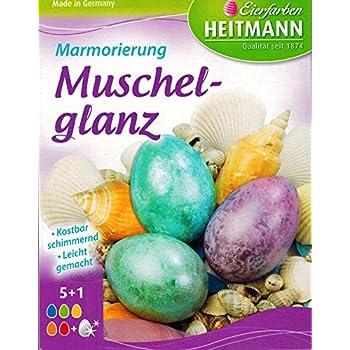 TEXTIMO Oeufs de Pâques Brillant marbré couleur Coquillage (6 couleurs/précieux
