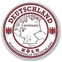 2 x 10cm/100 mm Deutschland Alemania Koln Etiqueta autoadhesiva de vinilo adhesivo portátil de