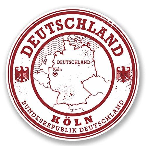 Preisvergleich Produktbild 2x Deutschland Germany Koln Vinyl Aufkleber Aufkleber Laptop Reise Gepäck Auto Ipad Schild Fun # 5816 - 10cm/100mm Wide
