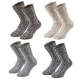 Tobeni 4 Paia di Calzettoni Norvegesi caldi Pre-lavati Calze di Lana Inverno per le Donna e gli Uomo Colore Multicolore Taglia 43-46