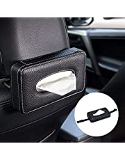 NIKAVI Leather Strap Tissue Paper Box Cover Holder for Cars (Black)