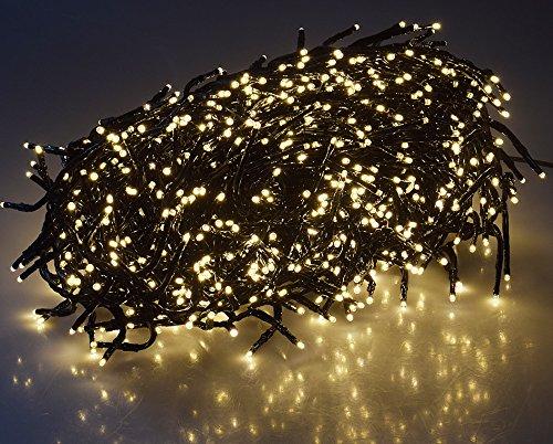 LED Büschel-Lichterkette Cluster IP44 für Innen und Außen, 10m Zuleitung MULTICOLOR, 8 Effekte, (Warmweiß, 10 Meter)