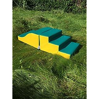 ABM Soft play PVC Foam Step & Slide children play set activity toy- 610gsm PVC/High Density Foam - Green/Yellow- L120cm x W50cm x H30cm