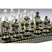 Chess-Set-Board-Messing-handgefertigt-Premium-Qualitt-Chess-Set-Antik-Design-Schwarz-Remasuri