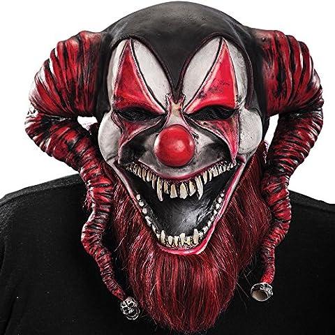 Carnival Toys - Máscara de látex demonio payaso con encabezado, color rojo (743)