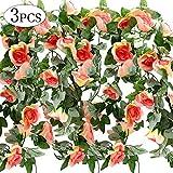 Yansion 3Pack 7.5ft Fiori Artificiali Simulazione Champagne Rose Ghirlanda Vine Fiori di Seta Finto Appeso Foglie di Piante per la Cerimonia Nuziale Fai da Te Casa Giardino Decorazioni per Feste…
