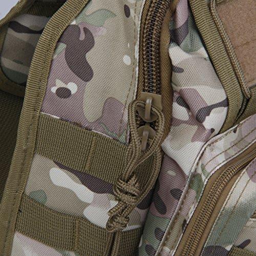 MagiDeal Oxford Borsa Tattico Spalla Esterna Militare Escursioni Zaino Di Campeggio Accesorio Sportivo - Nero Camo CP