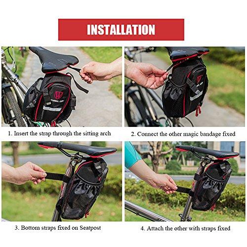 Lixada Fahrrad Satteltasche mit 2 Seitlicher Netzbeutel, Material: 900D Polyester. Schwarz
