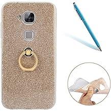 """Huawei G8 Funda, Lujo Purpurina CLTPY Huawei G8 Carcasa Cristal Silicona Suave Caso + Papel Brillante [Ultra Híbrido] Caja Protectora con Anillo de Chapado en Oro para 5.5"""" Huawei G8/GX8 + 1 x Aguja -"""