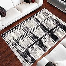 Tapiso Alfombra De Salón Moderna – Color Crema Negro Diseño Cuadrados Rayas Retro – Varias Dimensiones S-XXXL 130 x 190 cm