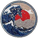 ZEGIN Toppa Ricamata da Applicare con Ferro da Stiro o Cucitura, Tema: Grande Onda al Largo di Kanagawa