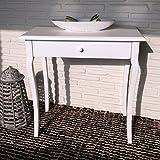 Konsolentisch weiß mit geschwungenen Beinen und breiter Schublade im Rokoko-Stil
