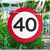 Folat Creative Gartenschild für Geburtstagsparty, Verkehrsschild, 40. Geburt