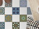 Dekor-Fliesen | Selbstklebende Aufkleber Folie Sticker Badfliesen Küchen-Folie Badezimmergestaltung | 10x10 cm Muster Ornament Orientalisches Mosaik - 9 Stück