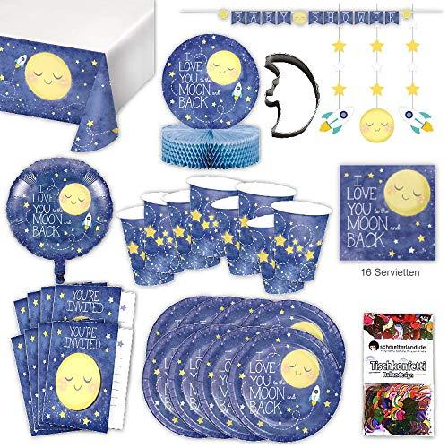 Mond Pyjama Party Set XL 57-teilig 8 Gäste Pyjamaparty Baby Shower Fete Partypaket
