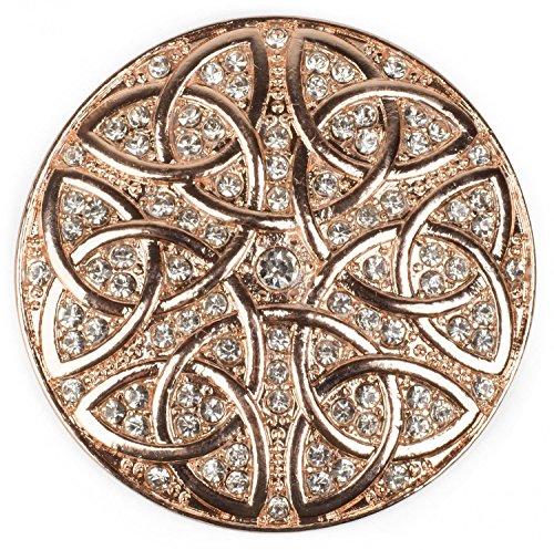 styleBREAKER runder Magnet Schmuck Anhänger Strass besetzt mit keltischem Knoten Ornament Muster für Schals, Tücher oder Ponchos, Brosche, Damen 05050038, Farbe:Rosegold (Runde Strass-brosche)