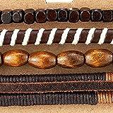 4 Braun Wickeln um Strap Armband Herren Damen, Multi-Strang Perlen Holz Armband, Lederarmband Baumwolle Schweissband - 2