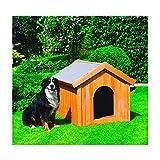 Promadino Hundehütte in 3 Größen Kiefernholz imprägniert 30 mm wärmeisoliert, Ausführung:groß