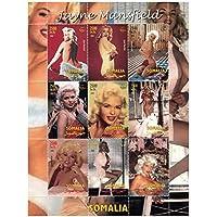Celebrando la vida de la estrella de cine Jayne Mansfield, esta hoja para coleccionistas cuenta con 9 imágenes de ella, algunos muy picante. Emitido por Somalia en 2002, 9 sellos, menta nunca con bisagras