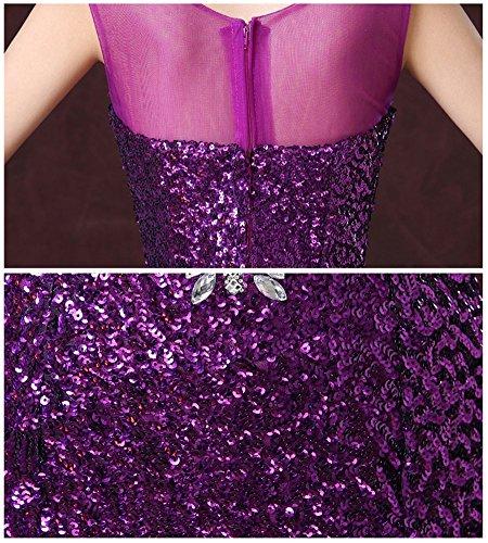 Drasawee Damen Schlauch Kleid Dunkelviolett