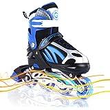 Adjustable Inline Skates with Light up Wheels Beginner Skates Fun Illuminating Roller Skates for Kids Boys and Ladies