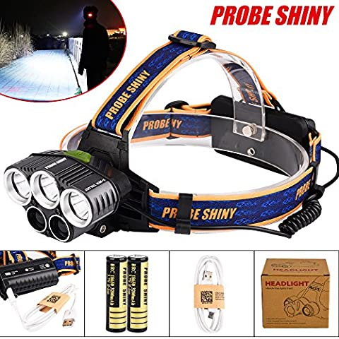 happytop Scheinwerfer 25000LM 5x XML T6wiederaufladbare LED Scheinwerfer Camping Taschenlampe wasserdicht Hard Hat Licht Scheinwerfer, damen Herren, Headlamp+USB+Batteries