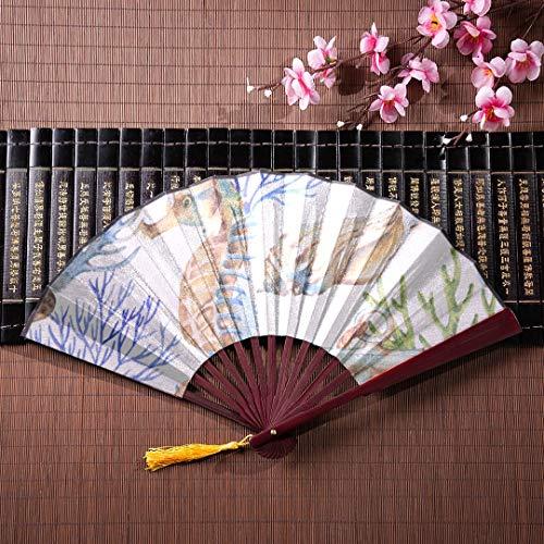 ans Bunte Seepferdchen Cartoon mit Bambus Frame Quaste Anhänger und Stoffbeutel große Fan Hand Papier Fan Folding Hand Fan Frauen ()